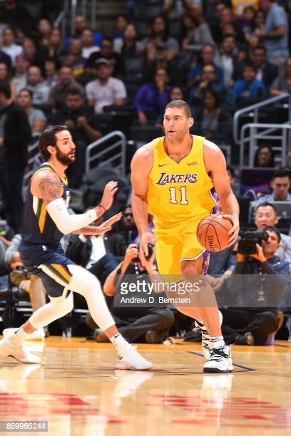 Brook Lopez of the Los Angeles Lakers handles the ball against the Utah Jazz during a preseason game on October 10 2017 at STAPLES Center in Los...