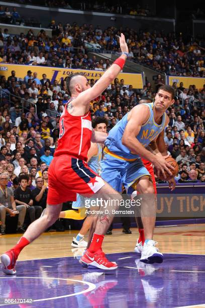 Brook Lopez of the Los Angeles Lakers handles the ball against the Washington Wizards on October 25 2017 at STAPLES Center in Los Angeles California...