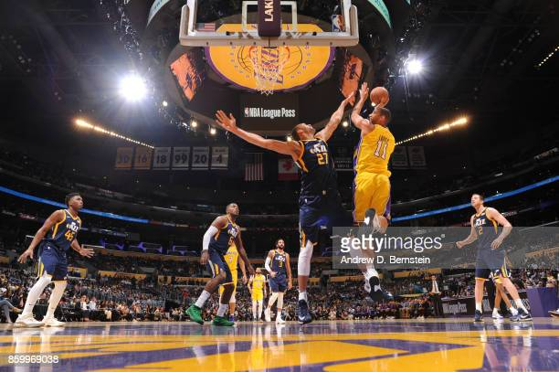 Brook Lopez of the Los Angeles Lakers shoots the ball against the Utah Jazz during a preseason game on October 10 2017 at STAPLES Center in Los...
