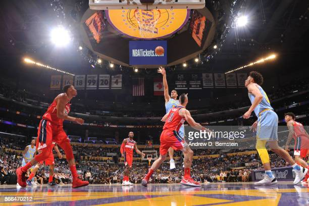 Brook Lopez of the Los Angeles Lakers shoots the ball against the Washington Wizards on October 25 2017 at STAPLES Center in Los Angeles California...