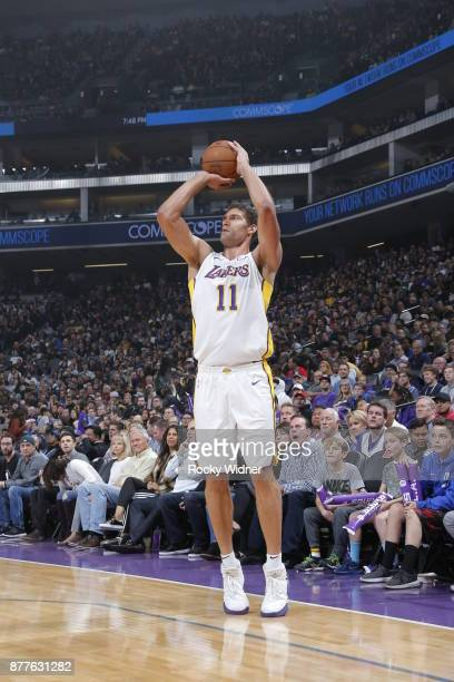 Brook Lopez of the Los Angeles Lakers shoots the ball during the game against the Sacramento Kings on November 22 2017 at Golden 1 Center in...