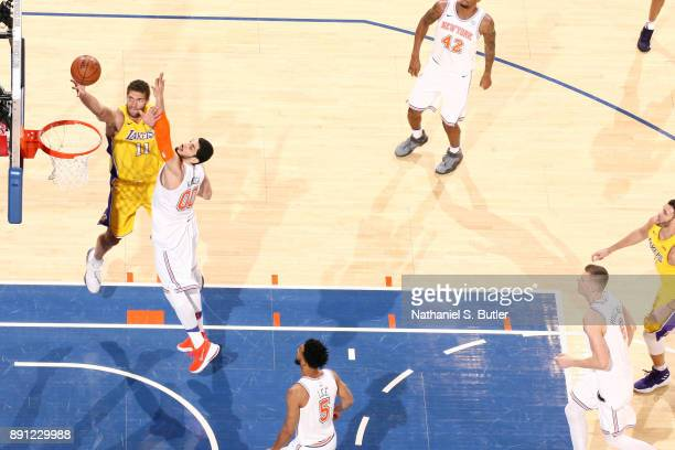 Brook Lopez of the Los Angeles Lakers shoots the ball during the game against the New York Knicks on December 12 2017 at Madison Square Garden in New...