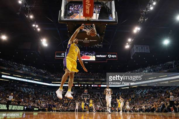 Brook Lopez of the Los Angeles Lakers slam dunks the ball against the Phoenix Suns during the second half of the NBA game at Talking Stick Resort...
