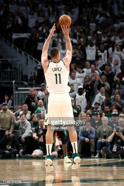 Brook Lopez of the Milwaukee Bucks attempts a shot in the second quarter against the Boston Celtics during Game One of Round Two of the 2019 NBA...