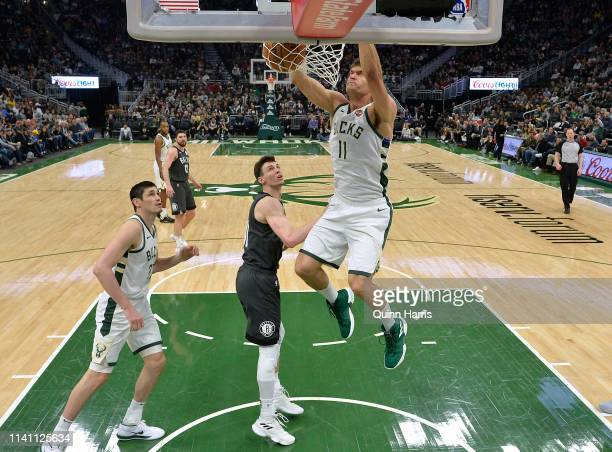 Brook Lopez of the Milwaukee Bucks dunks in the second half against the Brooklyn Nets at Fiserv Forum on April 06 2019 in Milwaukee Wisconsin NOTE TO...