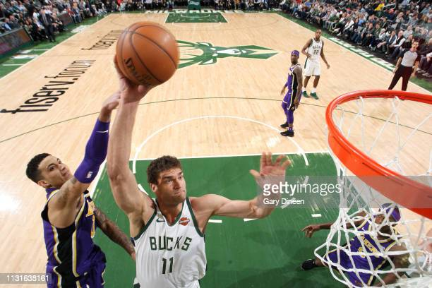 Brook Lopez of the Milwaukee Bucks goes to the basket against the Los Angeles Lakers on March 19 2019 at the Fiserv Forum in Milwaukee Wisconsin NOTE...