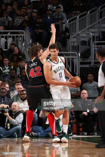 Brook Lopez of the Milwaukee Bucks handles the ball against the Chicago Bulls on November 28 2018 at the United Center in Chicago Illinois NOTE TO...