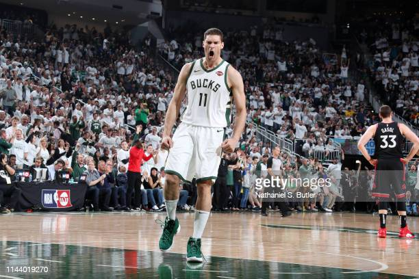 Brook Lopez of the Milwaukee Bucks handles the ball against the Toronto Raptors during Game One of the Eastern Conference Finals of the 2019 NBA...