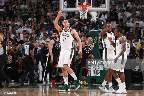 Brook Lopez of the Milwaukee Bucks reacts during a game against the Toronto Raptors during Game One of the Eastern Conference Finals of the 2019 NBA...