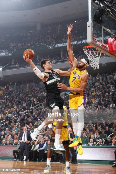 Brook Lopez of the Milwaukee Bucks shoots the ball against the Los Angeles Lakers on December 19 2019 at the Fiserv Forum Center in Milwaukee...