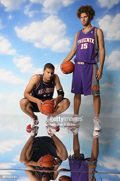 Brook Lopez of the New Jersey Nets and Robin Lopez of the Phoenix Suns pose for a portrait during the 2008 NBA Rookie Photo Shoot on July 29, 2008 at...