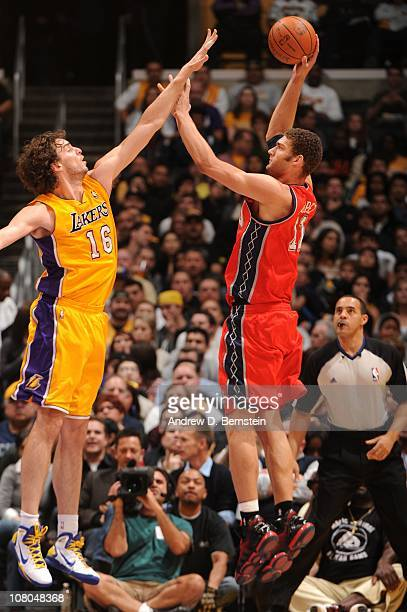 Brook Lopez of the New Jersey Nets shoots against Pau Gasol of the Los Angeles Lakers at Staples Center on January 14 2011 in Los Angeles California...