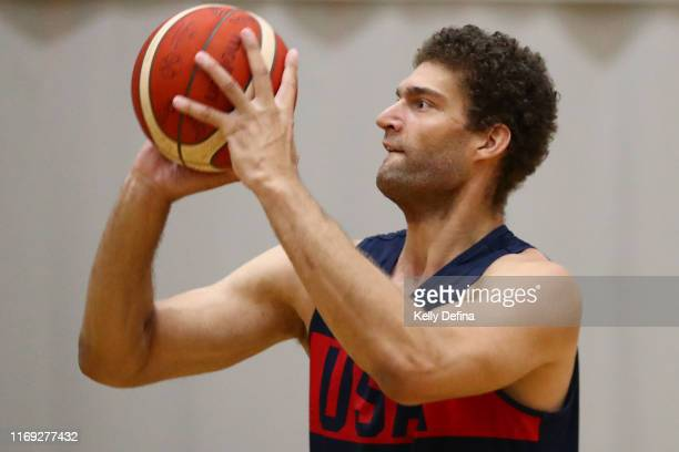 Brook Lopez of the USA shoots during a Team USA United States of America National Basketball team training session at Melbourne Sports and Aquatic...