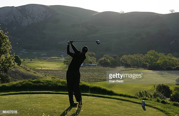 Brook Mackenzie hits driver off the first tee during the first round of the Livermore Valley Wine Country Championship held at The Course at Wente...