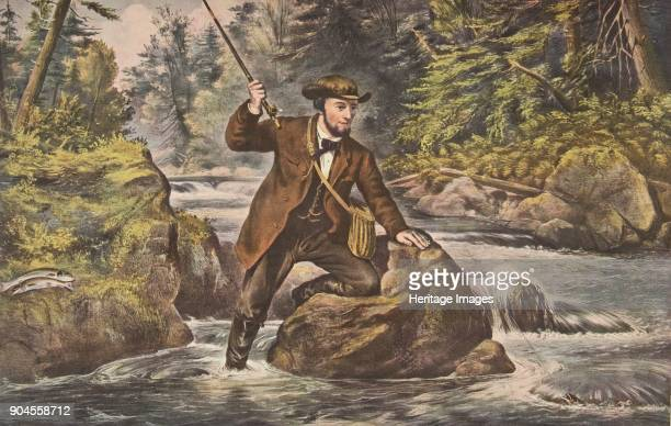 Brook Trout Fishing pub 1862 Currier Ives