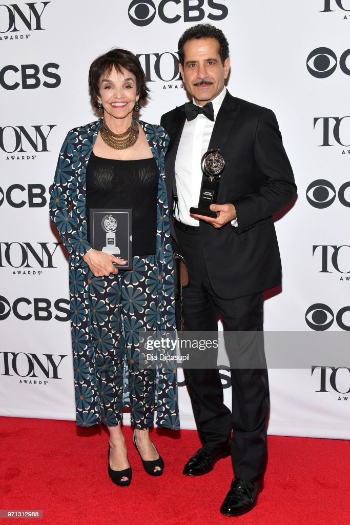 Brooke Adams and Tony Shalhoub, winner of the award for Best Performance by an Actor in a Leading Role in a Musical for 'The Band's Visit,' poses in the 72nd Annual Tony Awards Media Room at 3 West Club on June 10, 2018 in New York City.