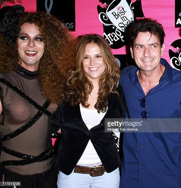 Brooke Allen and Charlie Sheen with a Doberman during 4th Annual Best in Drag Show to Benefit Aid for AIDS at WilshireEbell Theater in Los Angeles...