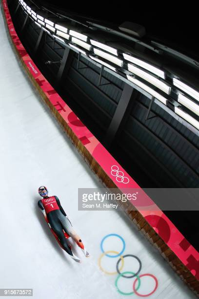 Brooke Apshkrum of Canada slides in a training session for the Women's Luge during previews ahead of the PyeongChang 2018 Winter Olympic Games at the...