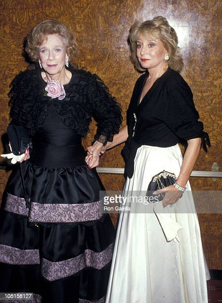 Brooke Astor and Barbara Walters during 1987 Annual New York Hospital Gala Benefit at Waldorf Astoria in New York City New York United States