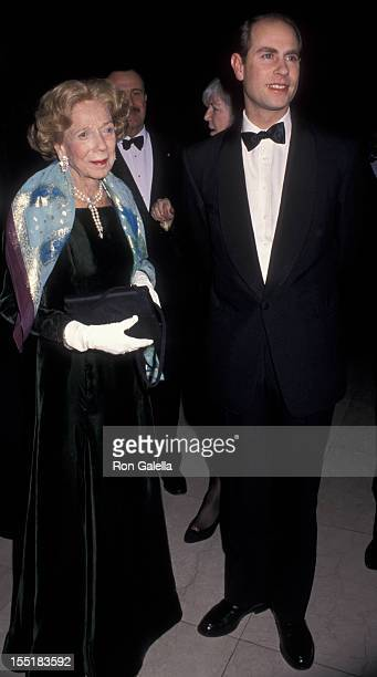 Brooke Astor and Prince Edward Earl of Wessex attend The Royal Oak Foundation Benefit Gala on March 1 1999 at the Equitable Center in New York City