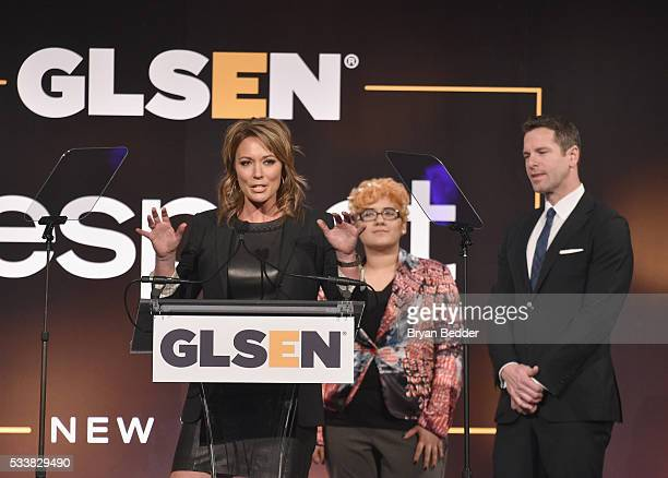 Brooke Baldwin, Aiden Ramirez-Tatum and Thomas Roberts speak onstage during the GLSEN Respect Awards at Cipriani 42nd Street on May 23, 2016 in New...