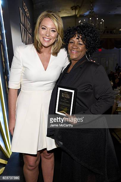 Brooke Baldwin and Honoree Diane Latiker pose backstage at the L'Oreal Paris Women of Worth Celebration 2016 on November 16 2016 in New York City