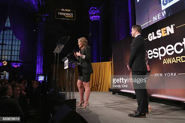 Brooke Baldwin Thomas Roberts and Aiden RamirezTatum speak onstage during the GLSEN Respect Awards at Cipriani 42nd Street on May 23 2016 in New York...