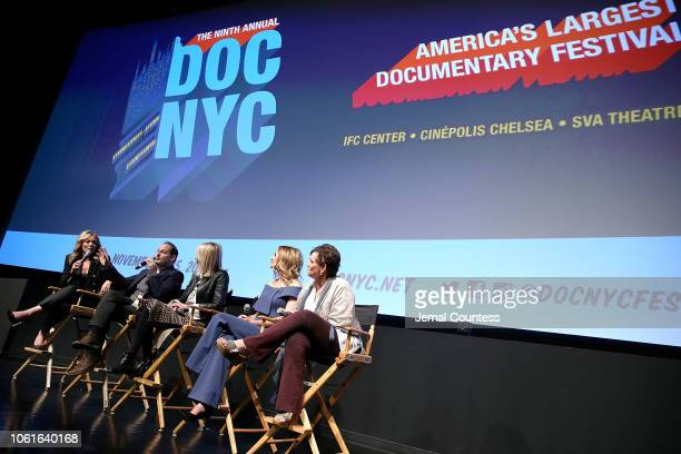 """Brooke Baldwin, Tom Donahue, Heather Graham, Susan Lyne and Maria Giese speak during the """"This Changes Everything"""" - A Conversation On Gender..."""