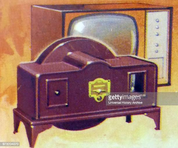Brooke Bond collectors tea card depicting The First Television and a 1960's TV set By the 1920s when amplification made television practical Scottish...