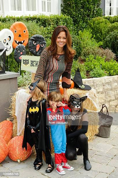 Brooke Burke and children Heaven Rain Charvet Shaya Braven Charvet and Sierra Sky Fisher attend the Pottery Barn Kids' Halloween Carnival benefitting...