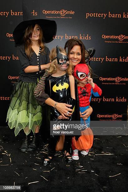 Brooke Burke and children Neriah Fisher Heaven Rain Charvet Shaya Braven Charvet and Sierra Sky Fisher attend the Pottery Barn Kids' Halloween...
