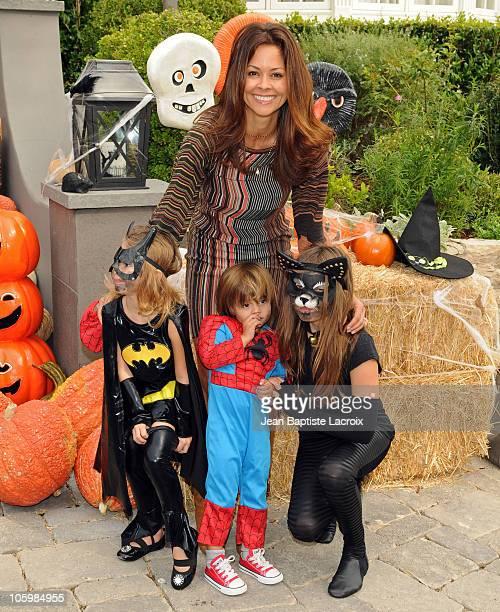 Brooke Burke and her children Heaven Rain Charvet Shaya Braven Charvet and Sierra Sky Fisher attend the Pottery Barn Kids' Halloween Carnival...