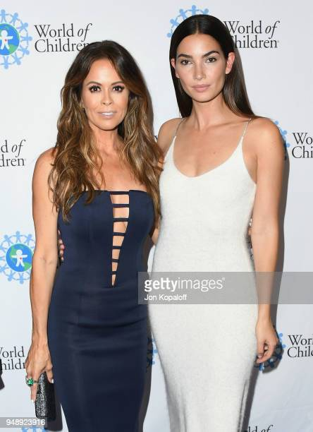 Brooke Burke and Lily Aldridge attend the 2018 World Of Children Hero Awards at Montage Beverly Hills on April 19 2018 in Beverly Hills California
