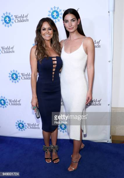 Brooke Burke and Lily Aldridge Followill attend the 2018 World of Children Hero Awards Benefit at Montage Beverly Hills on April 19 2018 in Beverly...