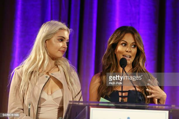 Brooke Burke and Neriah Fisher introduce World of Children CoFounders at the 2018 World of Children Hero Awards Benefit at Montage Beverly Hills on...