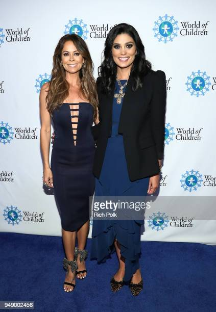 Brooke Burke and Rachel Roy attend the 2018 World of Children Hero Awards Benefit at Montage Beverly Hills on April 19 2018 in Beverly Hills...