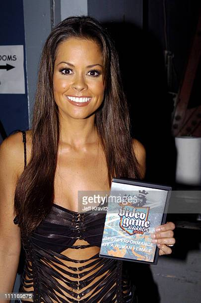 Brooke Burke during Spike TV's 2nd Annual Video Game Awards 2004 Backstage at Barker Hangar in Santa Monica California United States