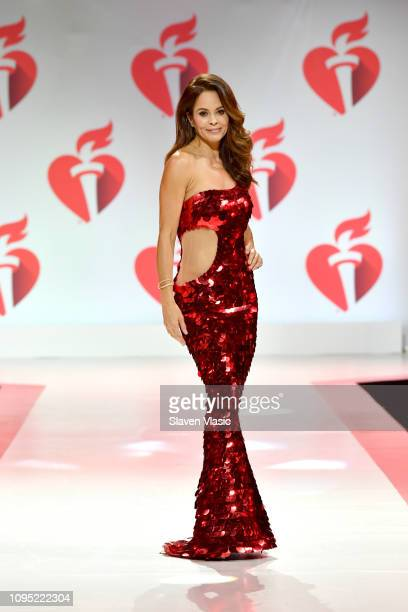 Brooke Burke walks the runway for The American Heart Association's Go Red For Women Red Dress Collection 2019 Presented By Macy's at Hammerstein...