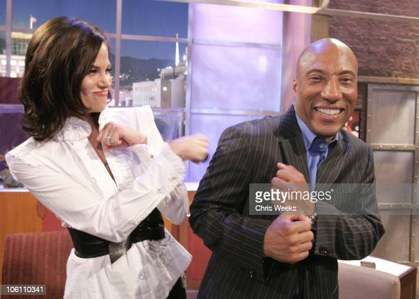 Brooke Burns and Byron Allen during Comics Unleashed with Byron Allen Launch Party Inside at Sunset Gower Studios in Hollywood California United...
