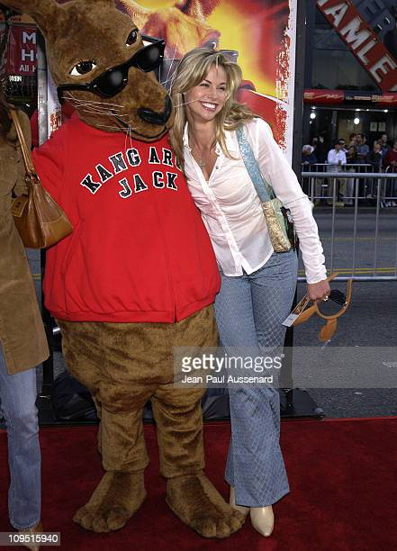 Brooke Burns and Kangaroo Jack mascot during Kangaroo Jack Premiere Los Angeles at Chinese Theatre in Hollywood California United States