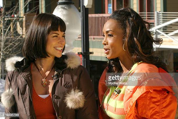 Brooke Burns and Vivica A Fox street interview during 2005 Park City Seen Around Town Day 6 at Park City in Park City Utah United States