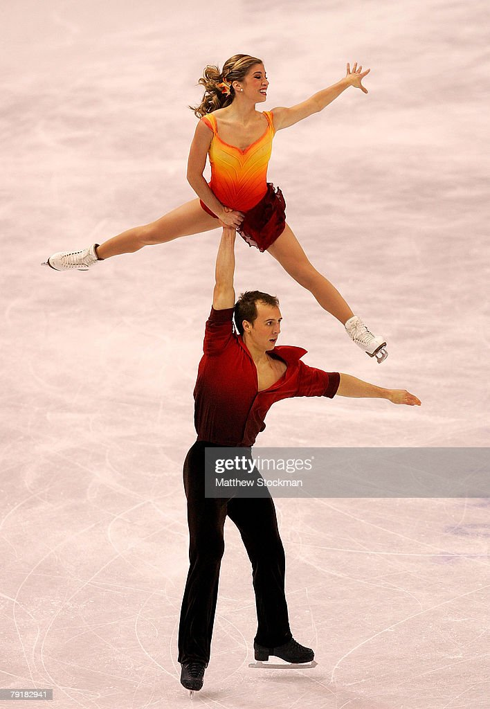 : Brooke Castile and Benjamin Okolski compete in the pairs short program during the US Figure Skating Championships January 23, 2008 at the Xcel Energy Center in St Paul, Minnesota.