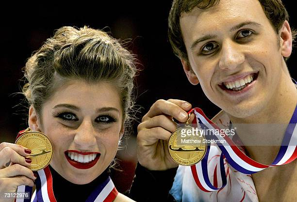 Brooke Castile and Benjamin Okolski pose after the medals ceremony for the pair's competition during the State Farm US Figure Skating Championships...