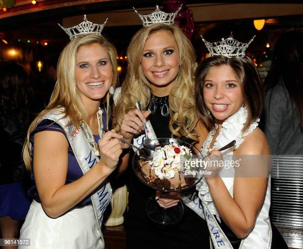 Brooke Catherine Poklemba, Miss Maryland, Sharalynn Kuziak, Miss Connecticut, and Heather Lehman, Miss Delaware, appear with Buca di Beppo's new...