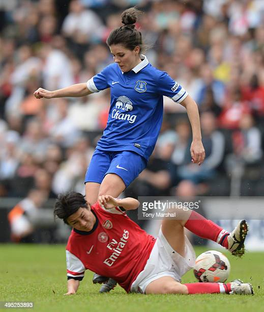 Brooke Chaplen of Everton Ladies tackled by Yukari Kinga of Arsenal Ladies during the FA Women's Cup Final match between Everton Ladies and Arsenal...