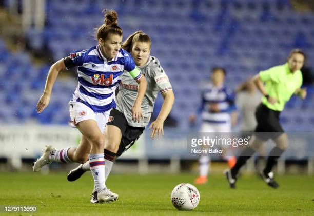 Brooke Chaplen of Reading FC Women battles for possession with Alice Griffiths of Charlton during the FA Women's Continental League Cup match between...