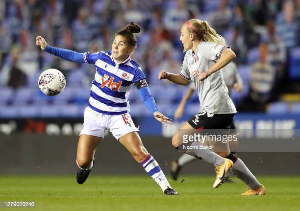 Brooke Chaplen of Reading FC Women challenges for the ball with Rachel Newborough of Charlton Athletic Women during the FA Women's Continental League...