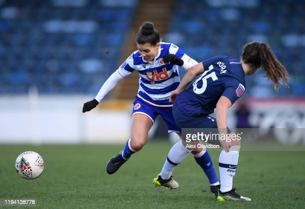 Brooke Chaplen of Reading Women is challenged by Siri Worm of Tottenham Hotspur during the Barclays FA Women's Super League match between Reading and...