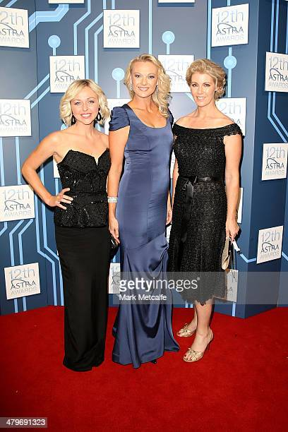 Brooke Corte, Celina Edmonds and Ingrid Willinge arrive at the 12th ASTRA Awards at Carriageworks on March 20, 2014 in Sydney, Australia.