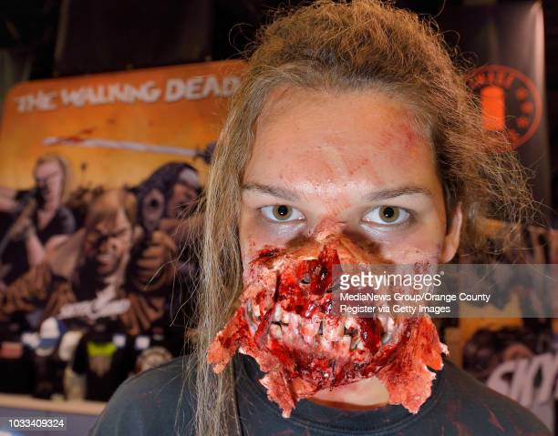 Brooke Cusick of Moorpark did her own special effects makeup to attend the WonderCon 2015 at the Anaheim Convention Center as a walker from the...